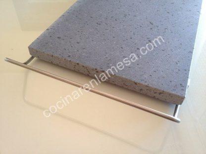 Piedra Volcanica para carne a la piedra 30x25x2cm con soporte inox