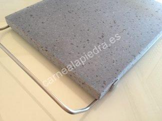 Piedra Volcanica Natural para asar carne 30x25x2cm con soporte de acero inoxidable