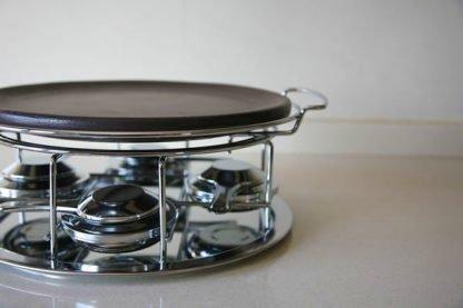 Piedra para asar carne de ceramica refractaria 29cm con soporte y quemadores