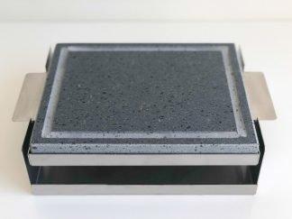 Piedra Volcánica asar carne 25×20 3cm bandeja + soporte inox